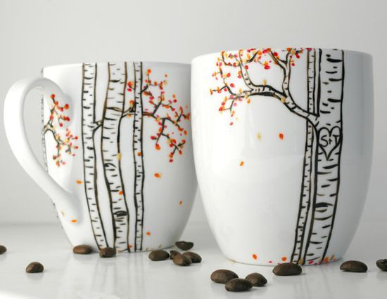 Autumn Aspen Forest - 2 Large Personalized Mugs - Hand Painted Mug ...