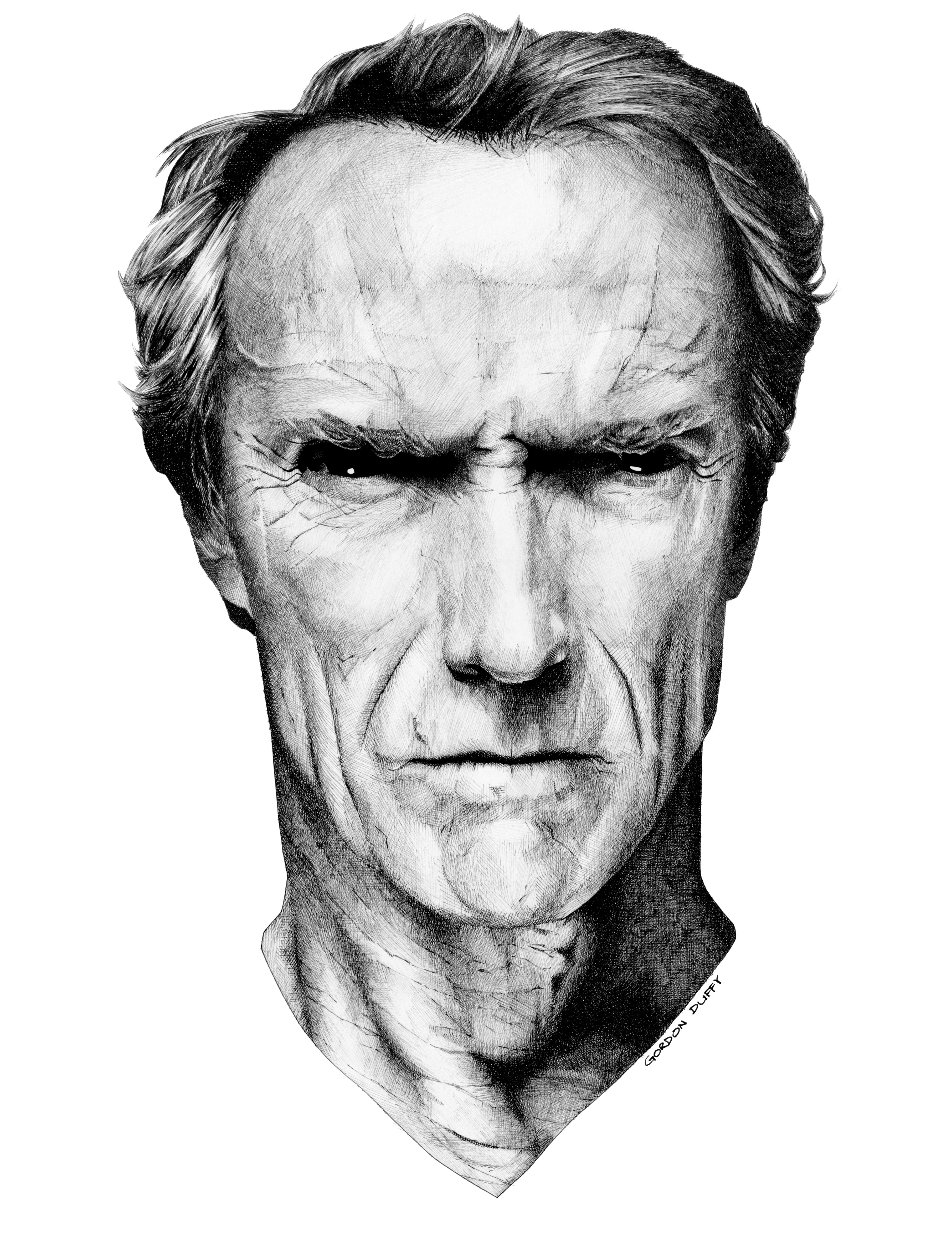 Clint Eastwood in 005 pigment ink pen drawing Dirty harry  Pen