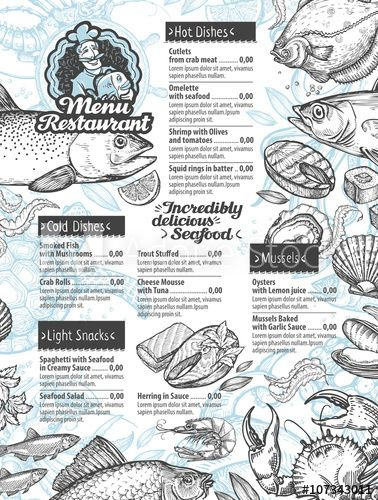 i like the design of this menu. From the first look you can right away tell its a seafood restaurant.