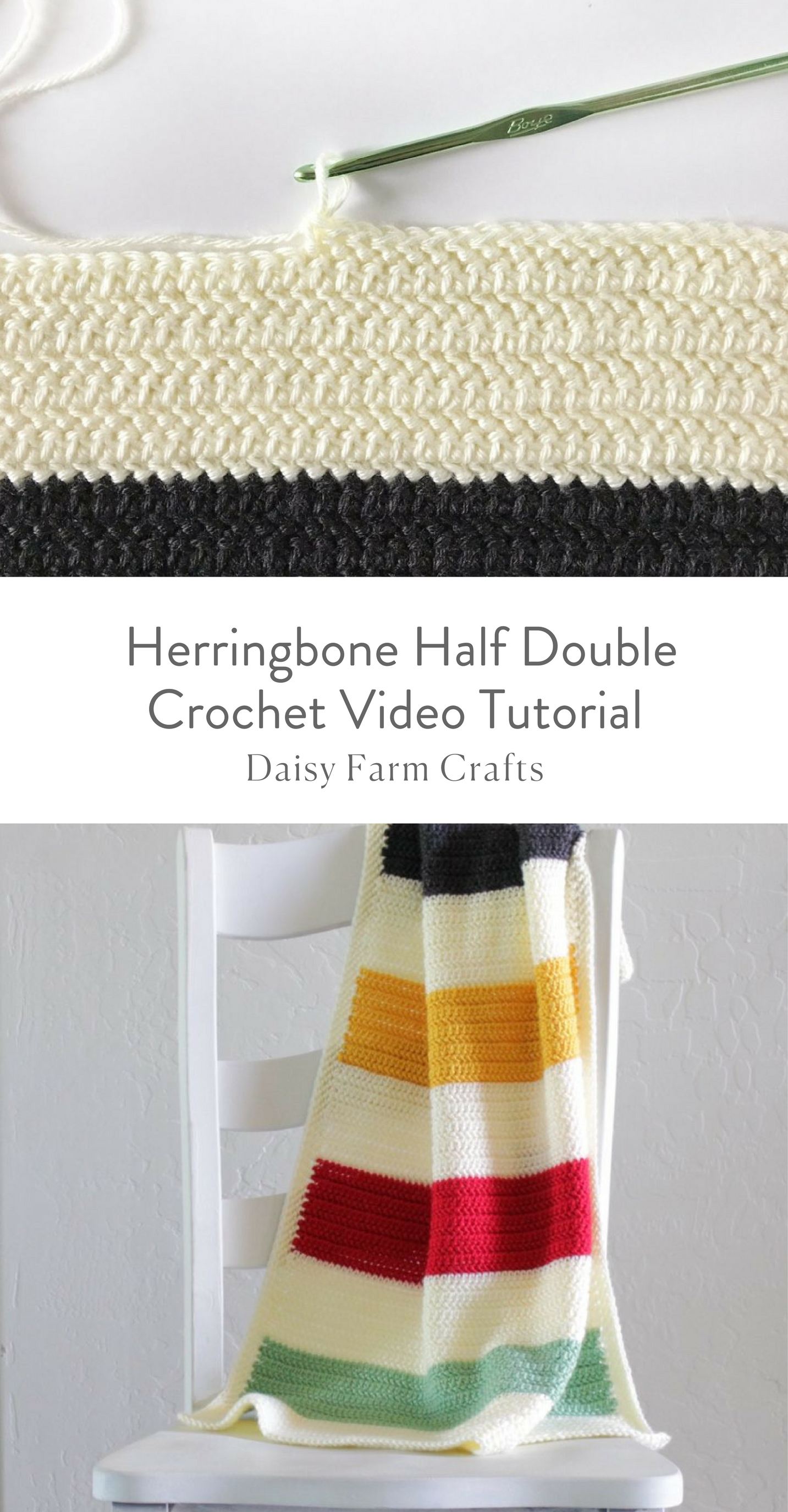 Herringbone Half Double Crochet Video Tutorial Knittingtutorials With Images Half Double Crochet Stitch Crochet Stitches For Blankets Crochet