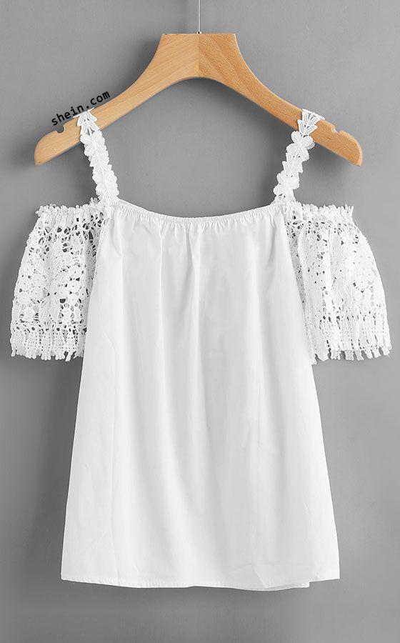 Crochet Lace Insert Cold Shoulder Top | Stitch Fix Inspiration ...