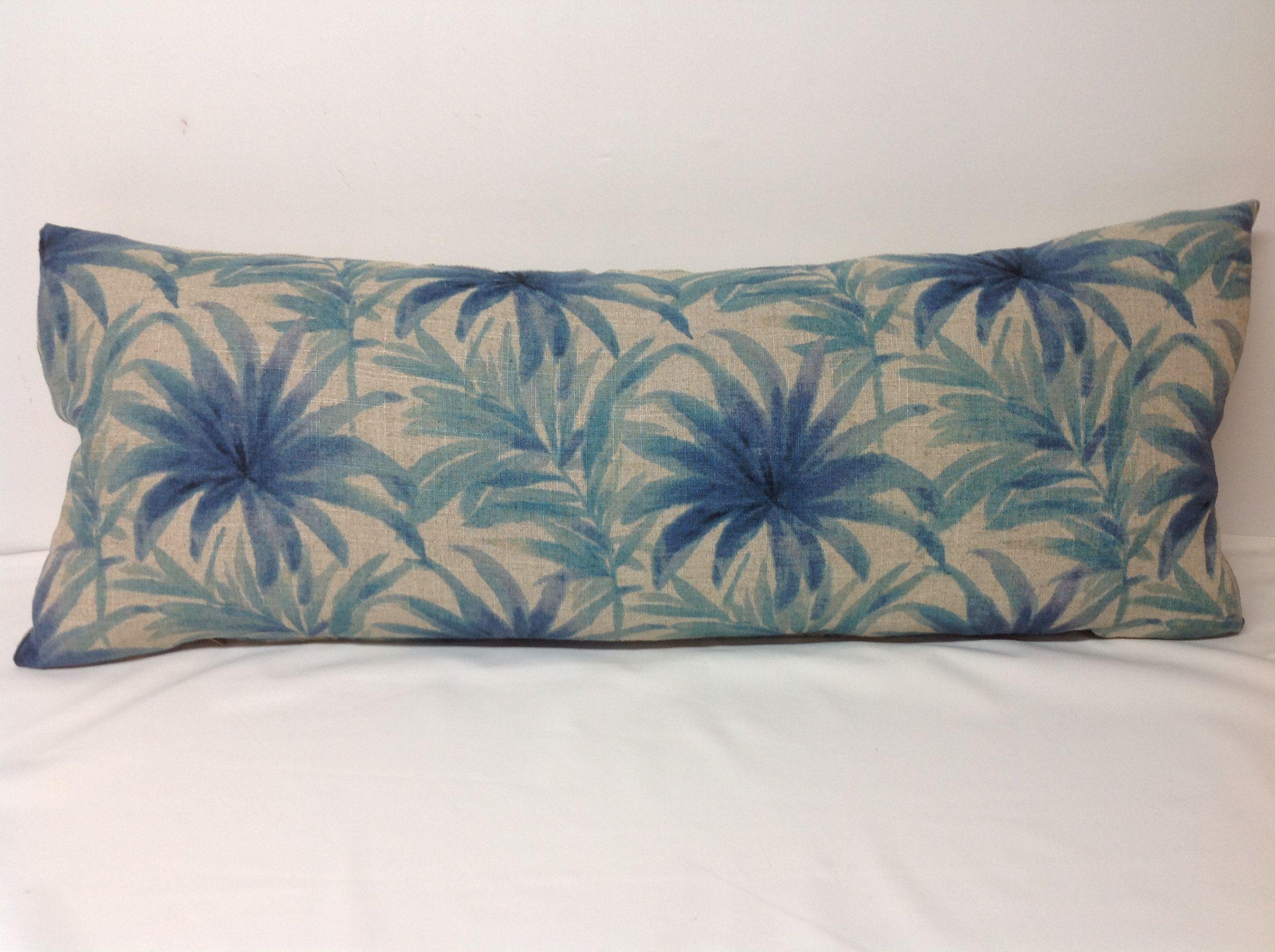 Gray Blue Large Lumbar Pillow Pillow Cover Floral Linen Pillow Decorative Pillow Accent Pillow Pillow Bedding Tommy Baha Pillows Pillow Covers Bed Pillows