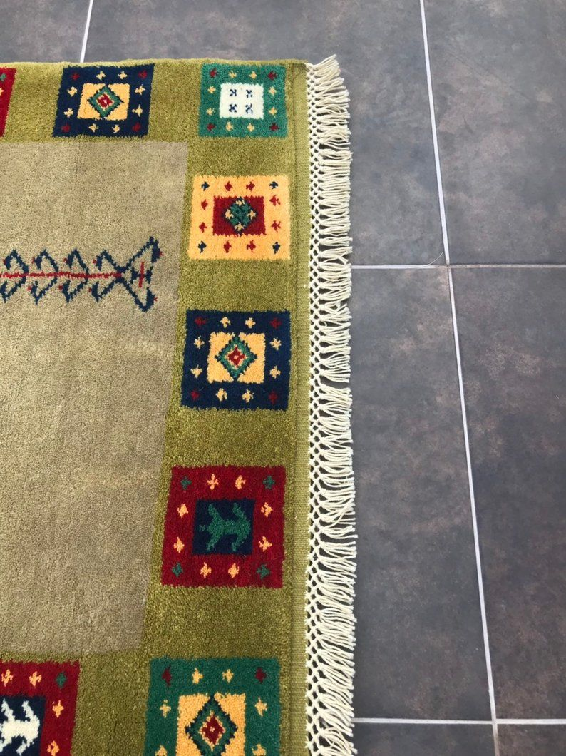 3x4 Area Rug, Berber Rug, Green Rug, Turkish Rug, Vintage