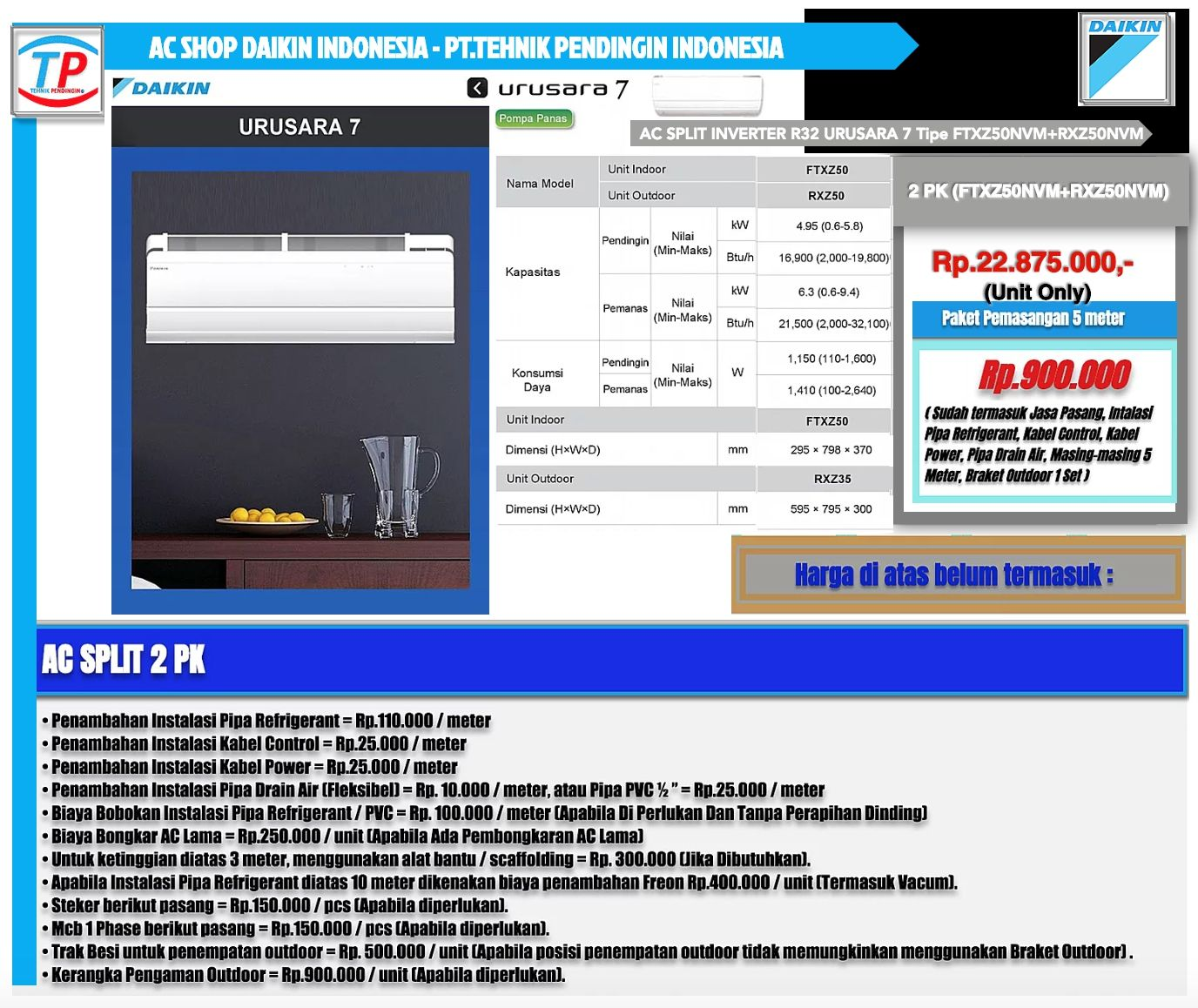 Jual Ac Daikin 1 Pk R32 Welcome To Standard Rv Ftv25axv14 Indoor Outdoor Only Split Inverter 2 Urusara 7
