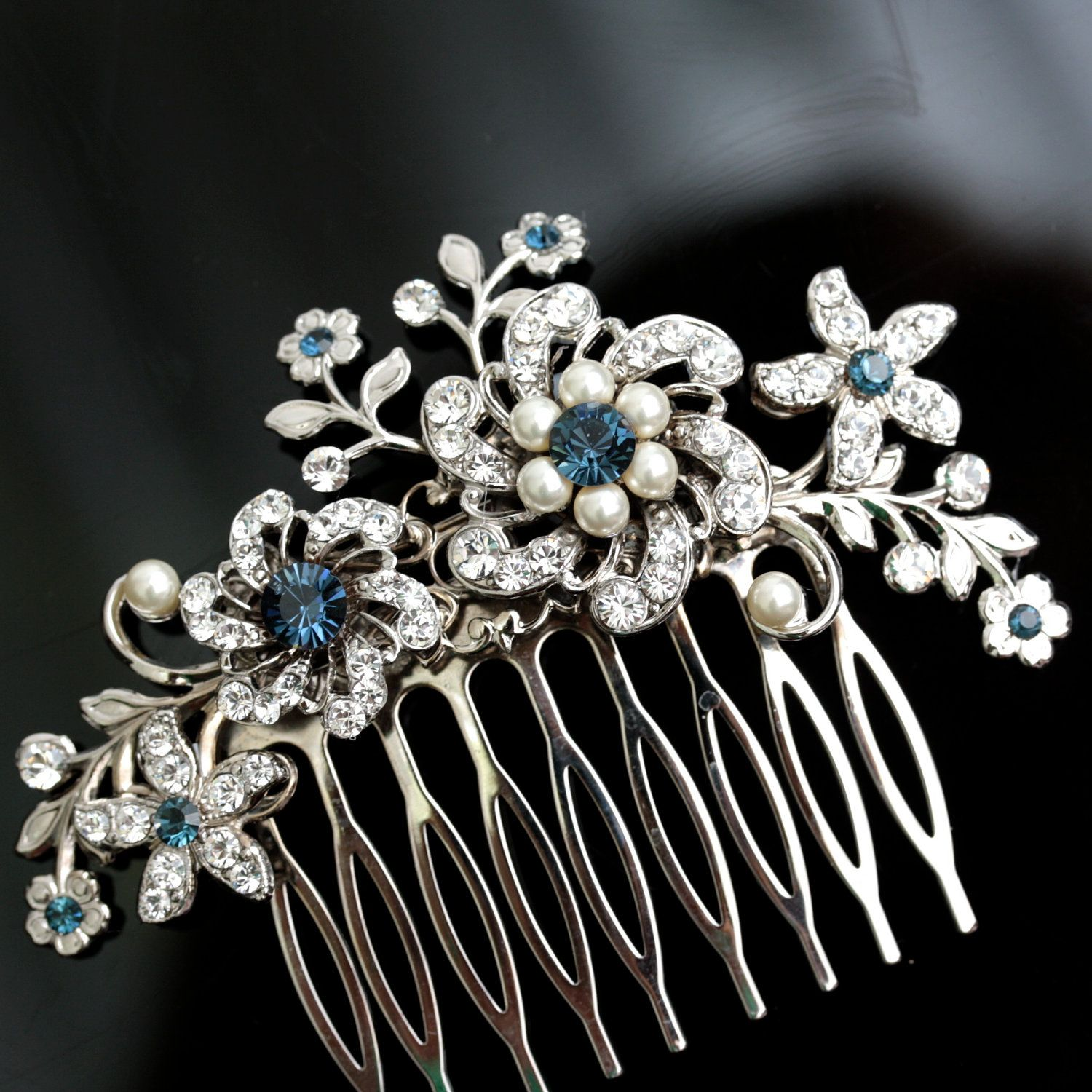 wedding hair comb rhinestone flowers and vintage leaves montana blue wedding hair accessories bridal side comb ivory pearl sabine 87 00 via etsy
