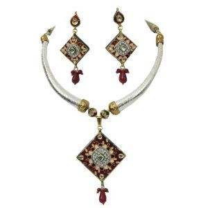 Bollywood Indian Kundan Fashion Enamel (Meenakari) Pendant Set (Office Product)  http://www.1-in-30.com/crt.php?p=B006OWIM3A  B006OWIM3A