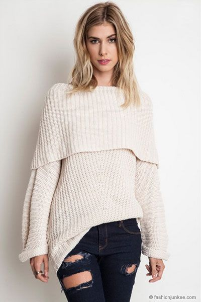 2ccd7e48b9722d Chunky Thick Foldover Off the Shoulder Knit Sweater Top-Off White in ...