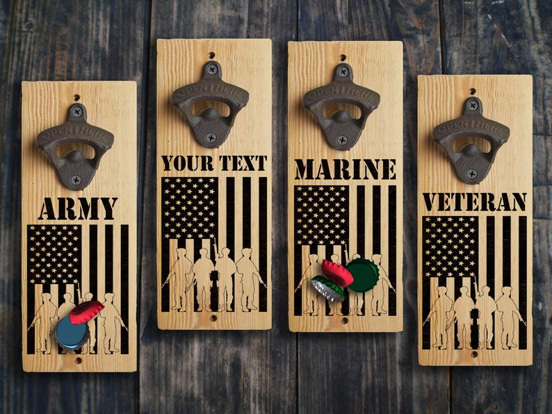 Veteran Bottle Opener Wall Mounted USA Patriotic Military