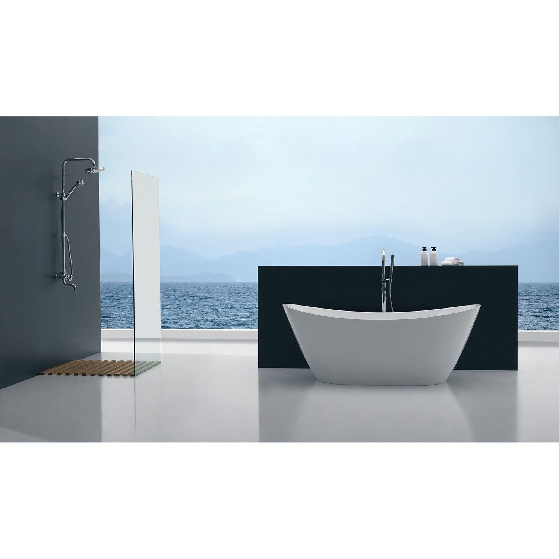 Eviva Bella 67 White Free Standing Strengthen Acrylic Bathtub (White ...