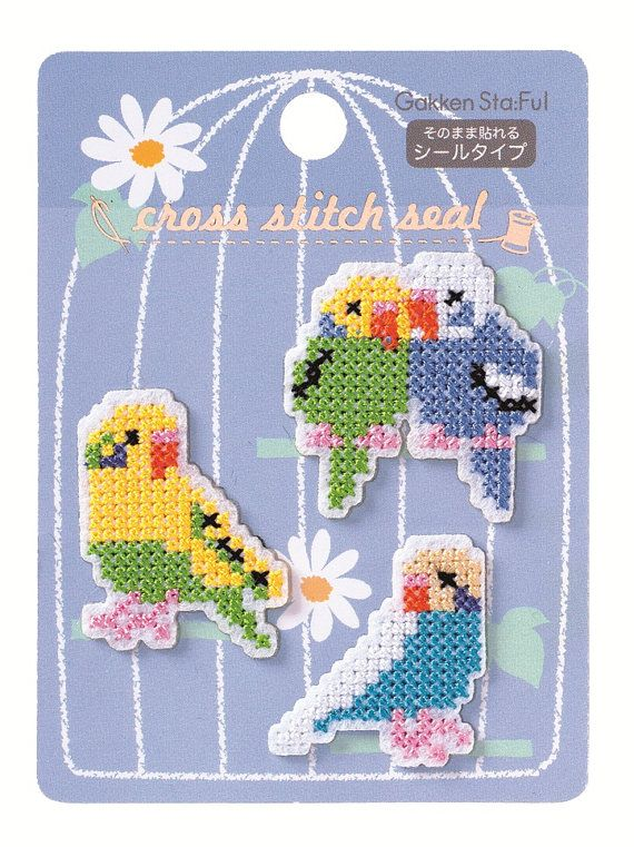 sandylandya@outlook.es Budgie Parakeet cross stitch sticker by SweetSuppliesStore on Etsy, $4.50