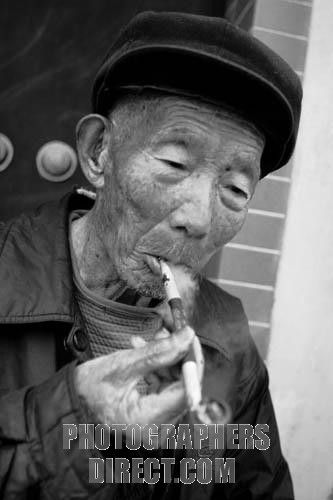 efb8c261b Old Man Smoking Pipe | Stock Photography image of Old Chinese man smoking  traditional pipe in .