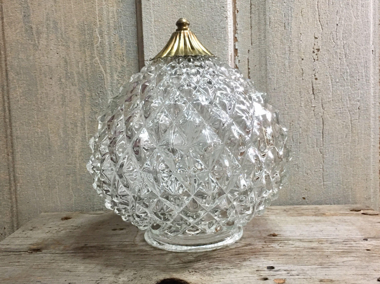 Vintage Clear Round Geometric Design Mid Century Retro Etsy Light Fixture Covers Globe Light Fixture Glass Bulbs