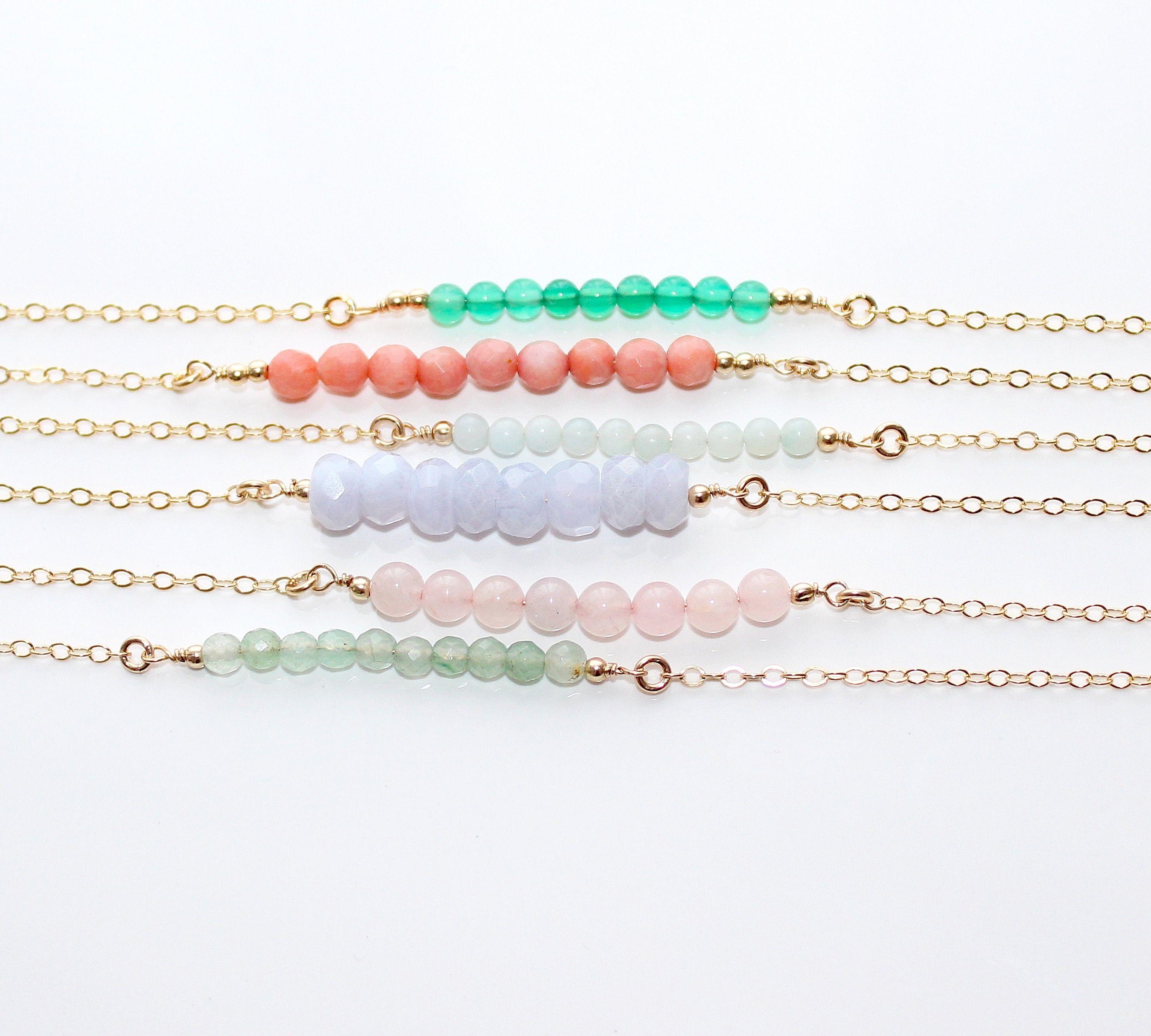 Colourful gemstone beaded bracelets