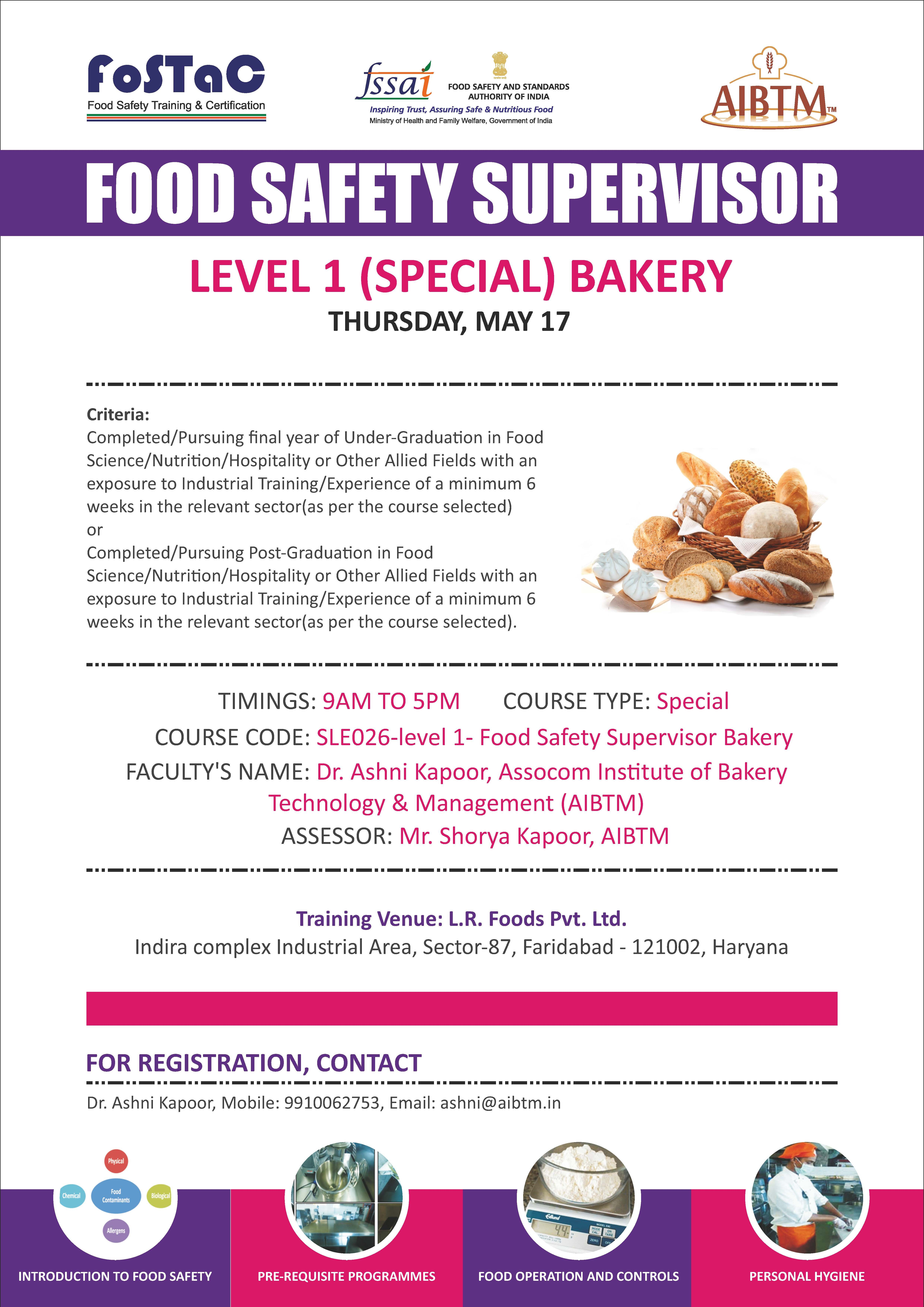 Enroll FoodSafetySupervisor Training Program on Level 1