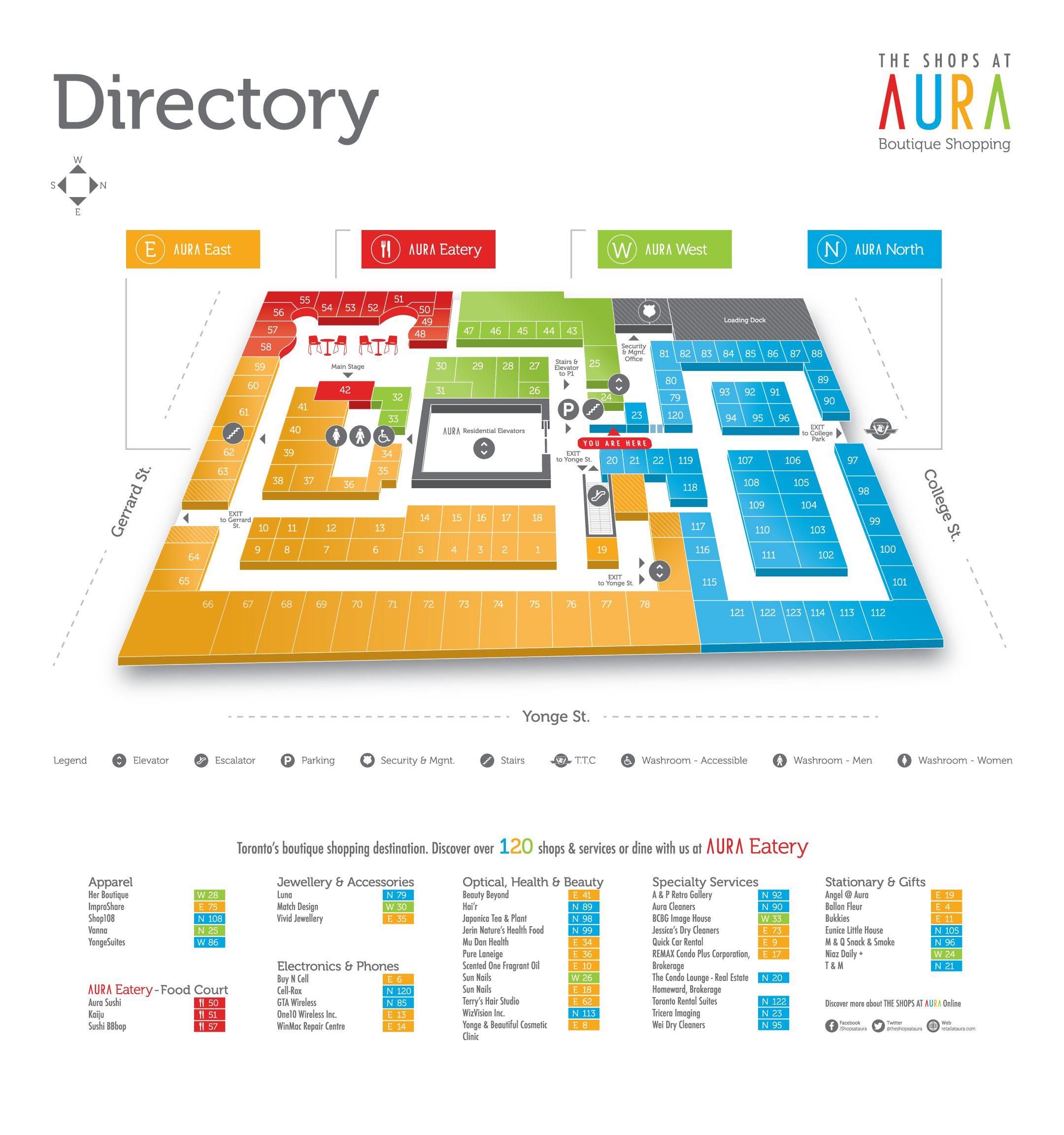 Our Map Illustration For The Shops At Aura Signage Design Map Signage Map Design