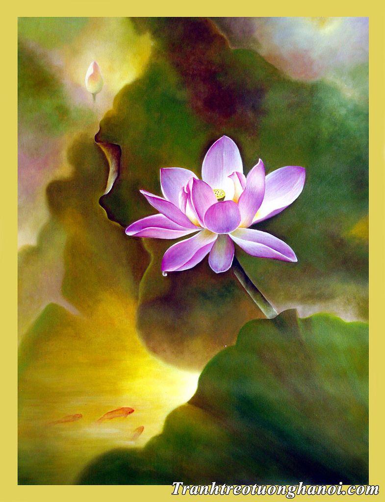 Tranh vẽ hoa sen cực đẹp với sự chuyển mình của màu sắc đầy sống động