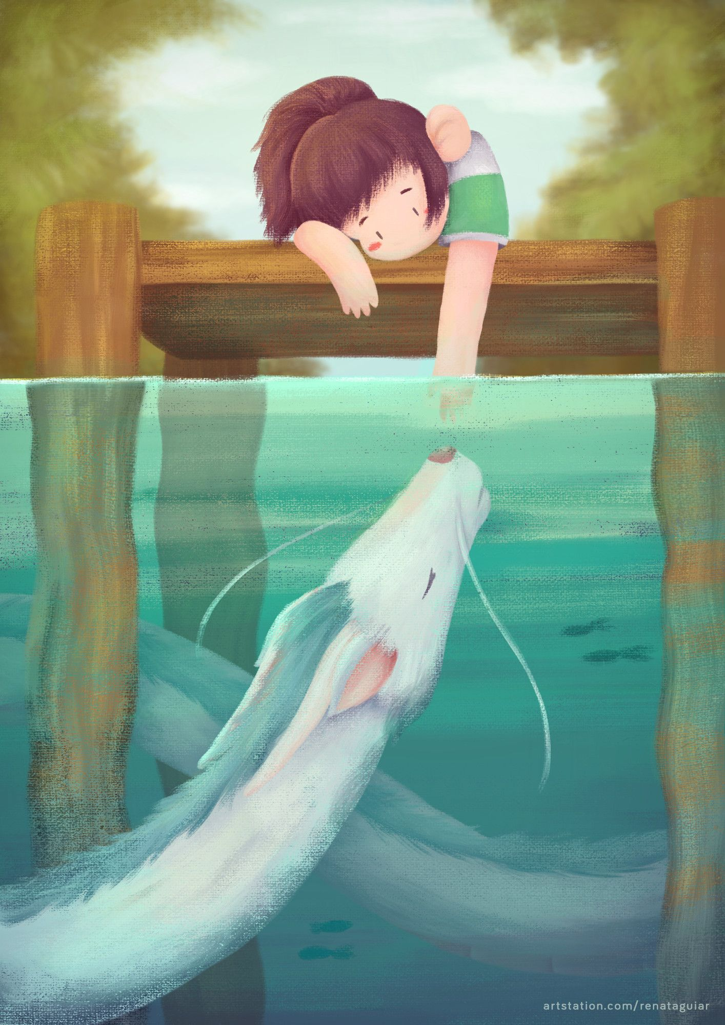 Artstation Haku And Chihiro Spirited Away Renata Aguiar Ghibli Artwork Studio Ghibli Art Studio Ghibli Spirited Away