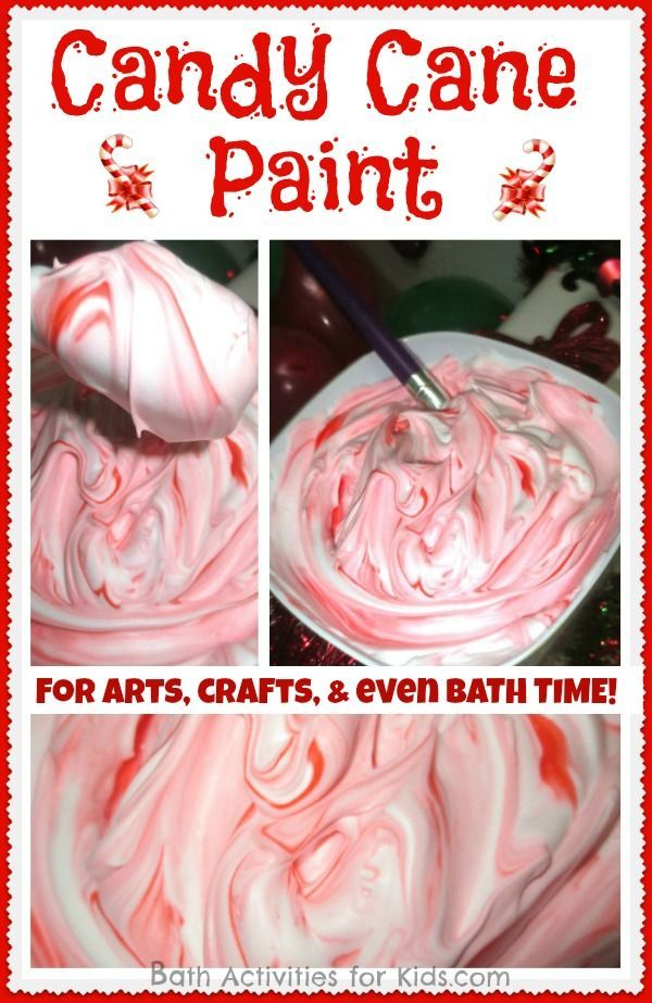Shaving Cream ~ Red food coloring ~ Peppermint extract ~ A stir ...