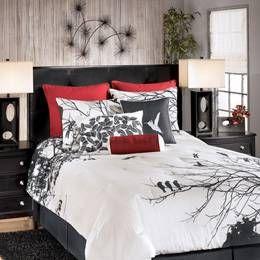 Black Red White Bird Motif Love The Bedspread Tn260 Ashley Amalia Red Bedding Jpg 260 215 260