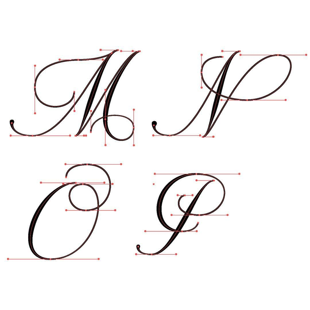 M P Flourished Copperplate With Vector Points With