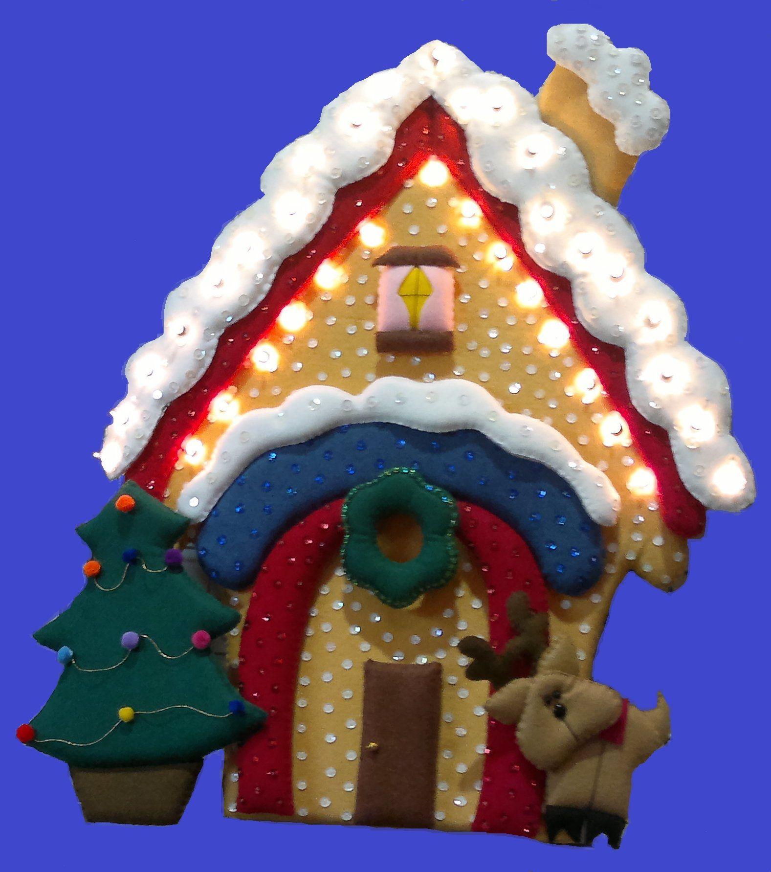 Casita navide a con reno incluye luces fieltro navidad - Casitas de navidad ...