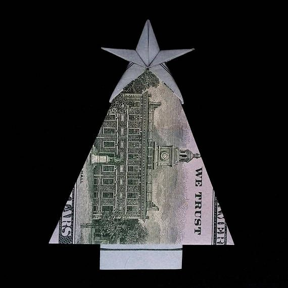 Real One Dollar Bill Origami Miniature Christmas Tree With Star