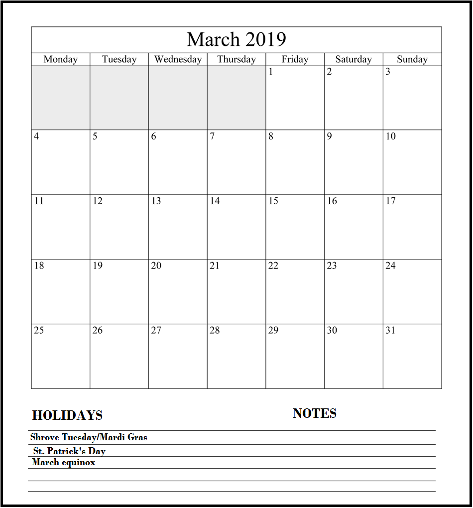 march 2019 holidays calendar monthly calendar templates