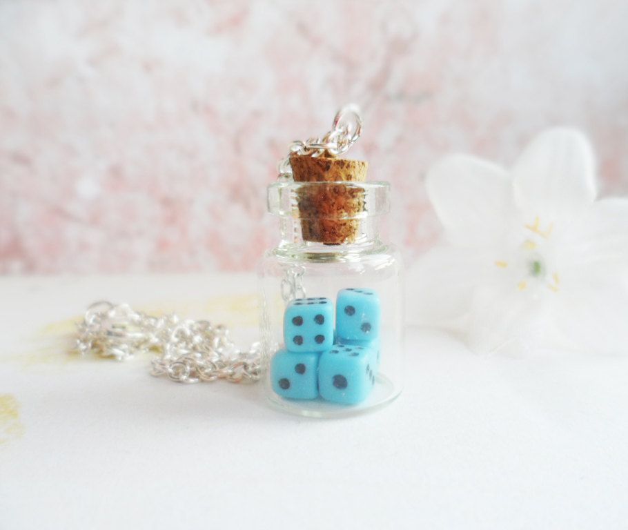 Silver glass bottle necklace with tiny dice inside, vintage inspired, Selma Dreams, pink, turquoise or purple, message in a bottle, gift by SelmaDreams on Etsy