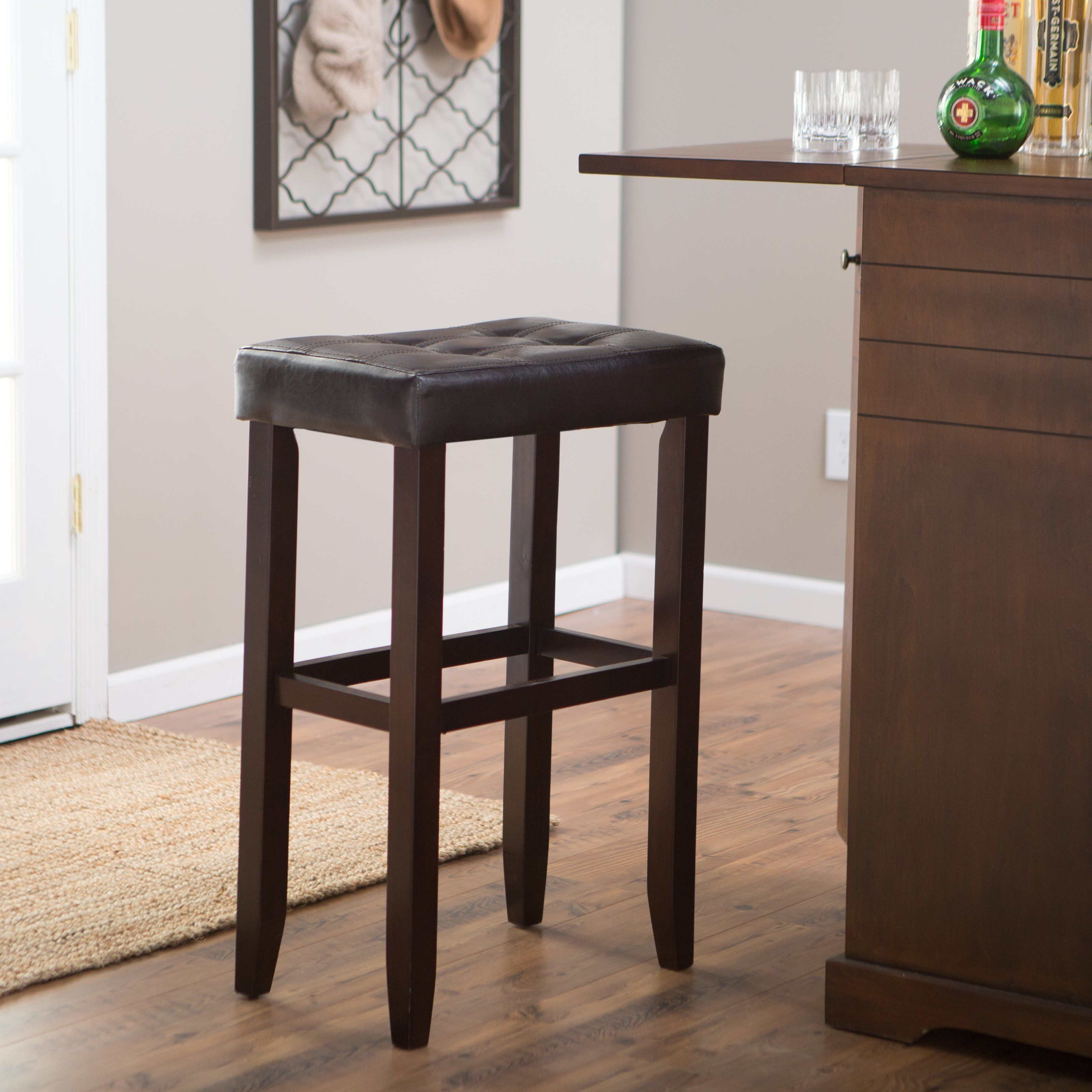 Palazzo Inch Extra Tall Saddle Bar Stool Brown Simple and space saving the Palazzo Inch Backless Saddle Bar Stool Brown has a modern