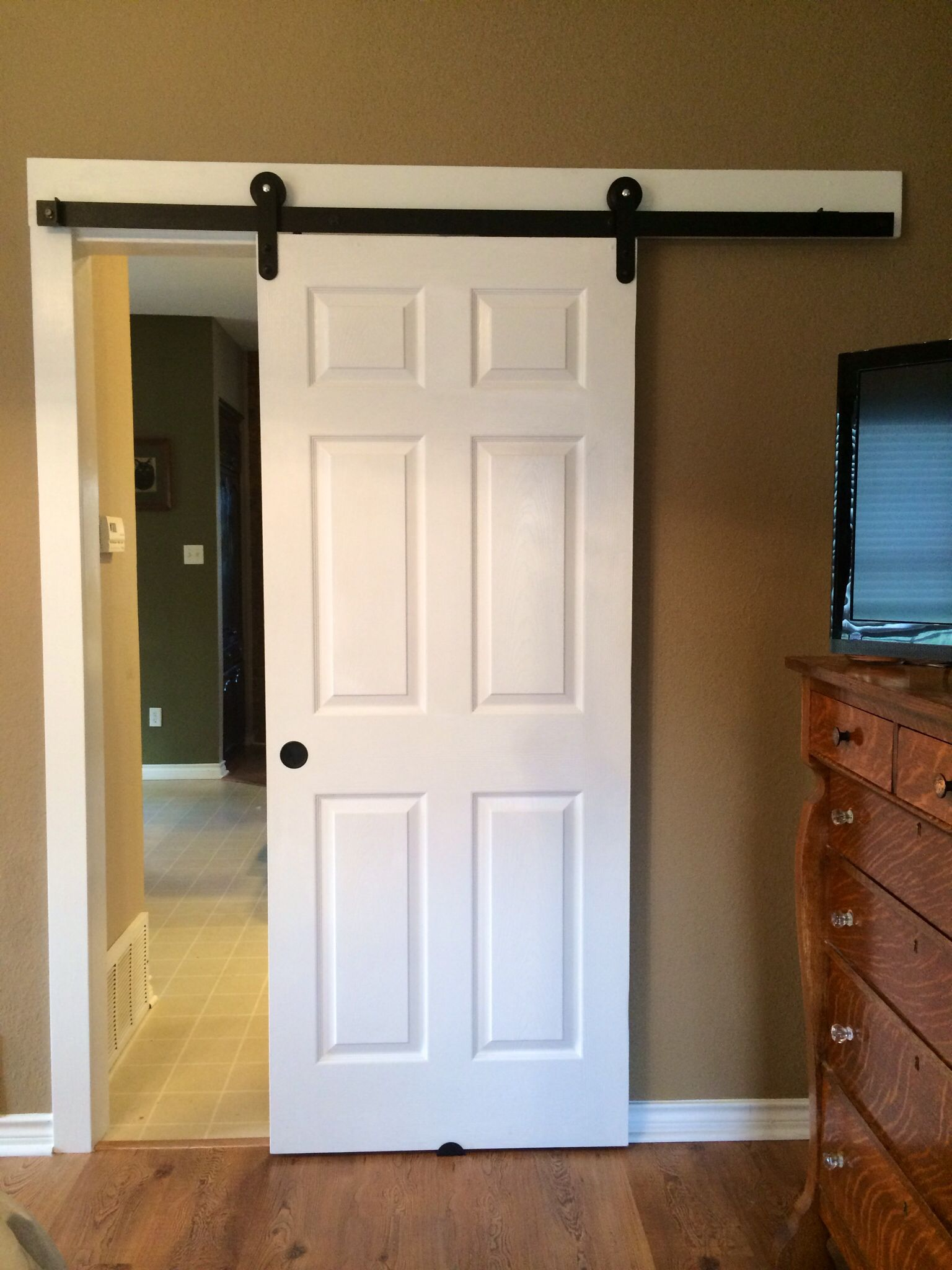 Love The Way It Turned Out Glad I Was Able To Use My Existing Door Just Filled Some Holes And Added A R Barn Door Installation Bedroom Door Handles Barn Door