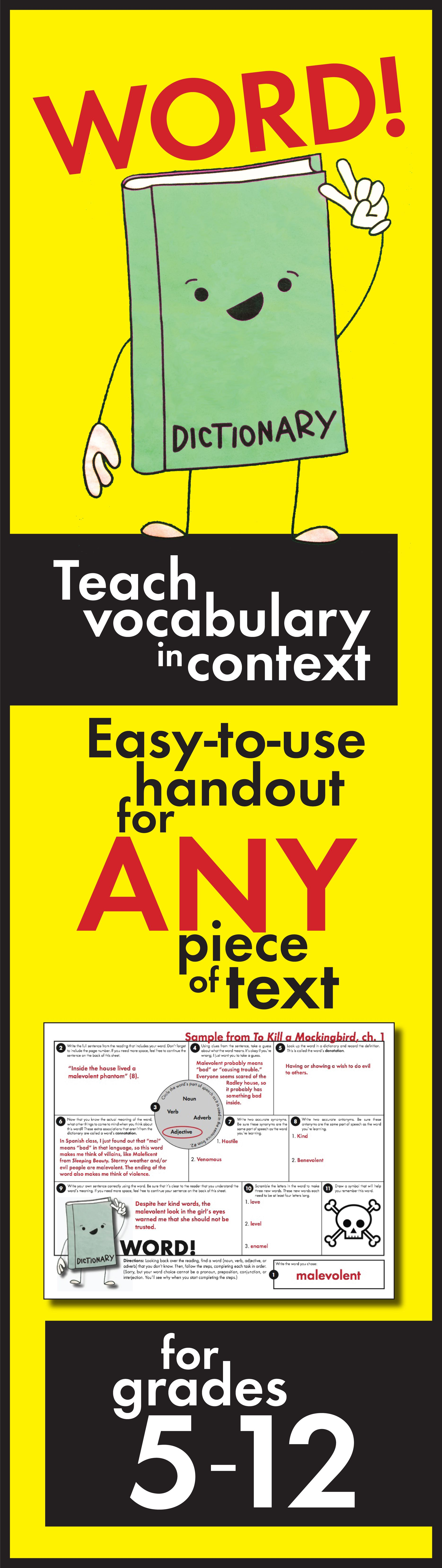 Vocabulary In Context Fun Worksheet To Use With Any Text Grades 5 12 Language