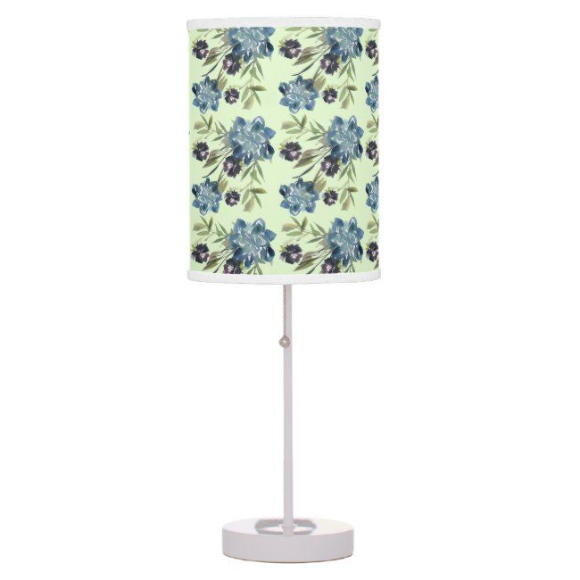 Blue Roses and Cornflowers Watercolor Print Lamp #zazzlemade #floral #roses #seamless #blue#botanical #gifts #gardenstyle #flowers #vintage #floral
