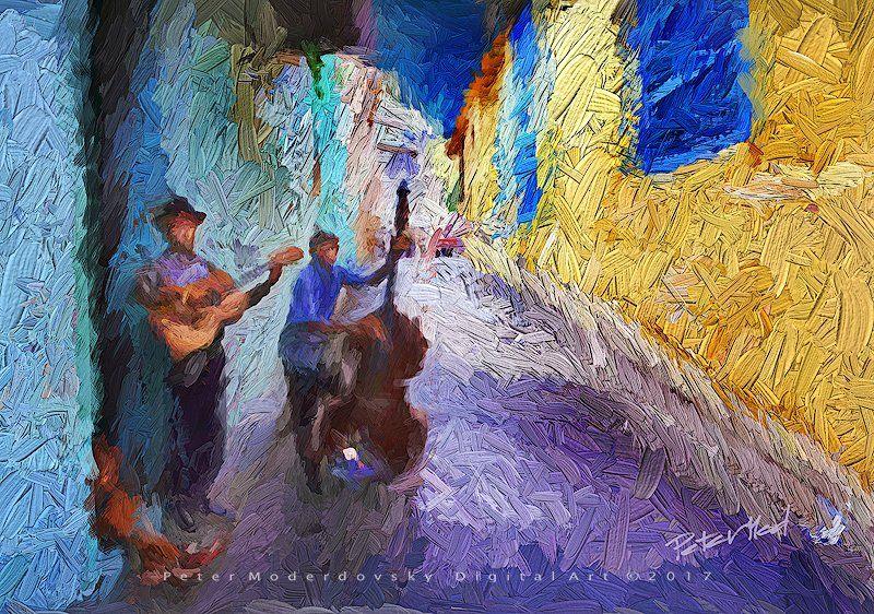 Cuban musicians, digital #painting by @Petermod777