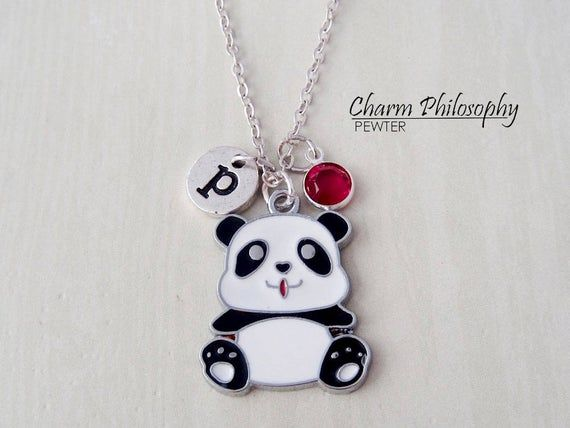 Panda Bear Necklace - Baby Panda Charm - Antique Silver Jewelry - Personalized Monogram Initial and Birthstone #babypandas