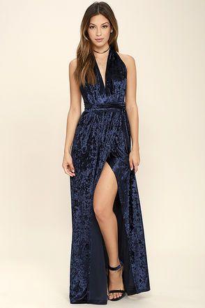 118567f64c315 Aphrodite's Kiss Navy Blue Velvet Halter Maxi Dress | Maxi Outfits ...
