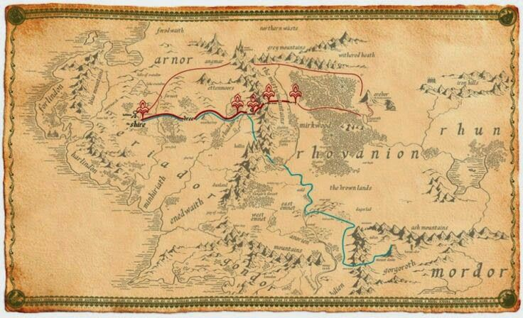 The different routes that Bilbo and Frodo took on their journeys