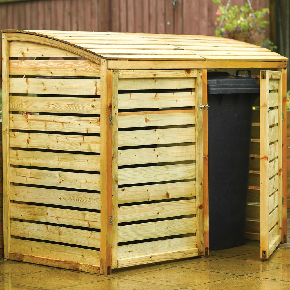 wooden double wheelie bin hide storage 2 door lifting lid pressure