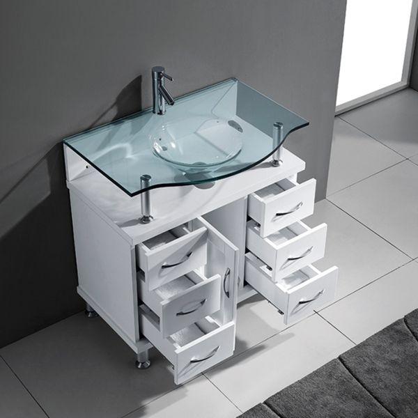 Virtu USA Vincente 32 Inch Single Tempered Glass Sink White Bathroom Vanity