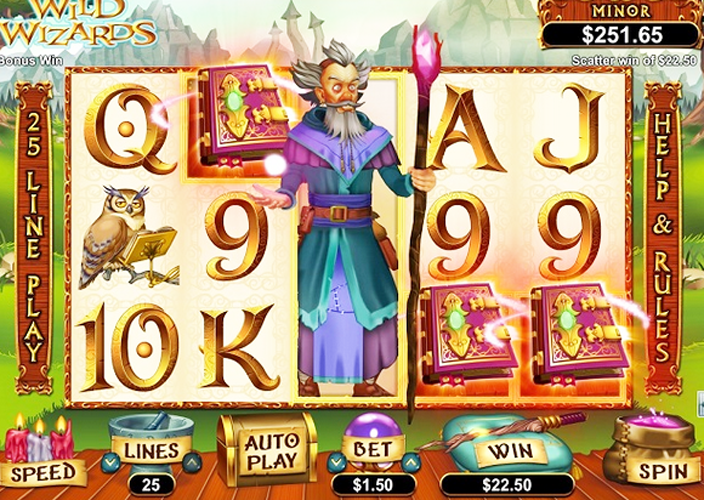 The Wild Wizards slots machine has five reels and 25 pay