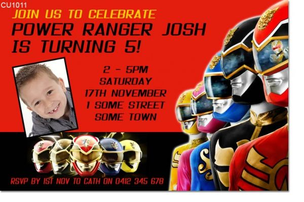 Cu1011 Boys Power Rangers Birthday Invitation Power Ranger Birthday Party Power Ranger Birthday Birthday Party Invitations