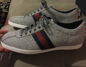 f480b30d1d3 Gucci-Mens-Sneakers-Glitter-Web-Sneaker-With-Studs-US-10-UK-9-Womens-11-5-9g