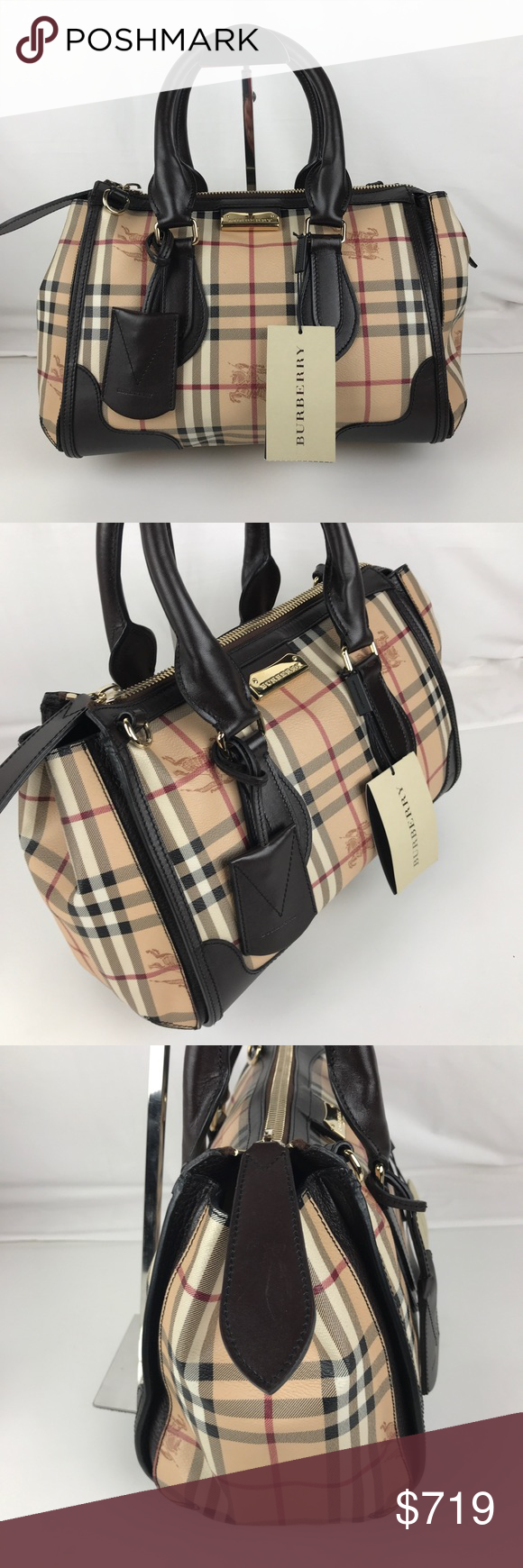 cc0a3440d13d Burberry Plaid Gladstone Chocolate Tote 3870759 Burberry Style 3870759  Authentic. Gently used with tag