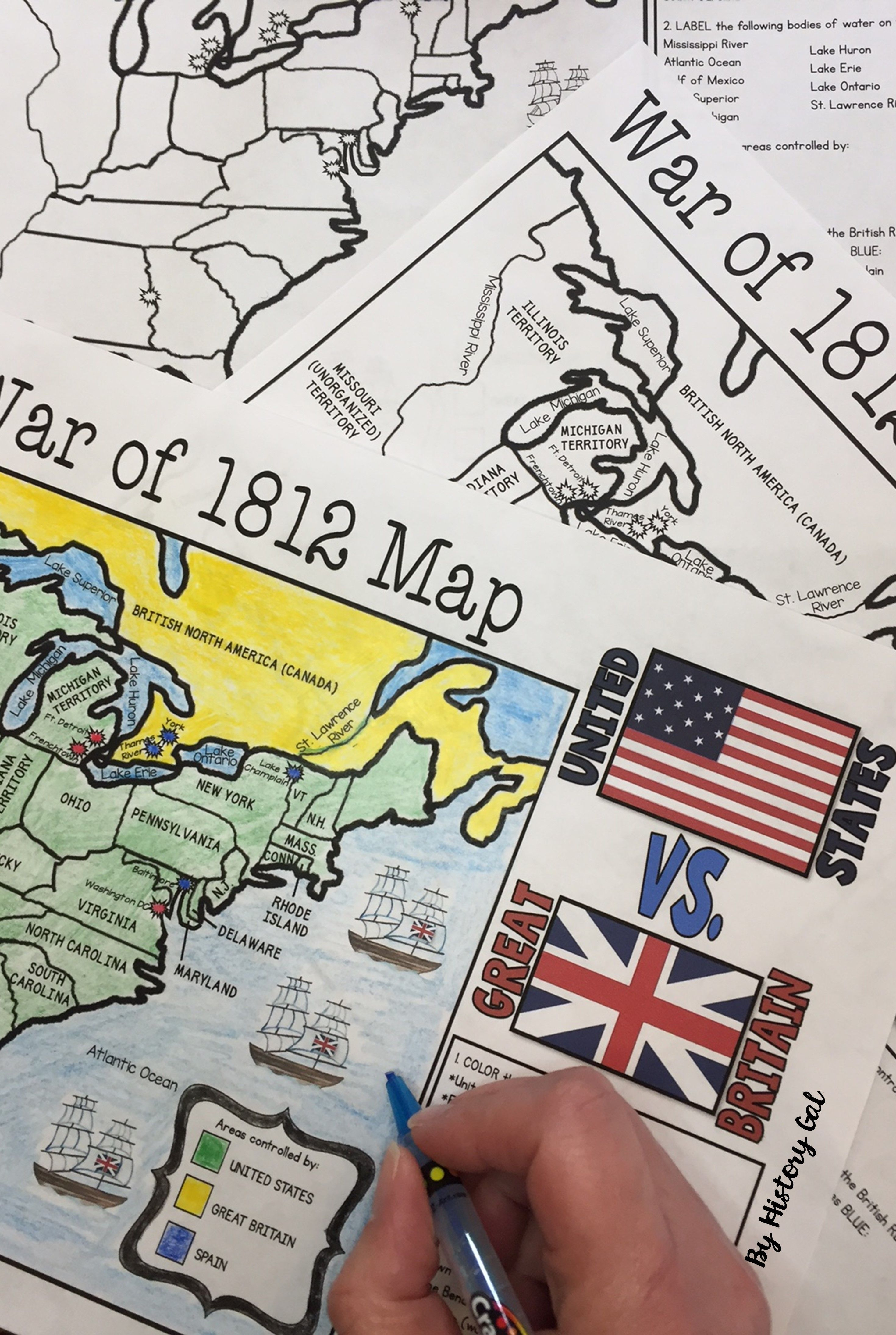 War of 1812 map activity geography homeschool and high for War of 1812 coloring pages