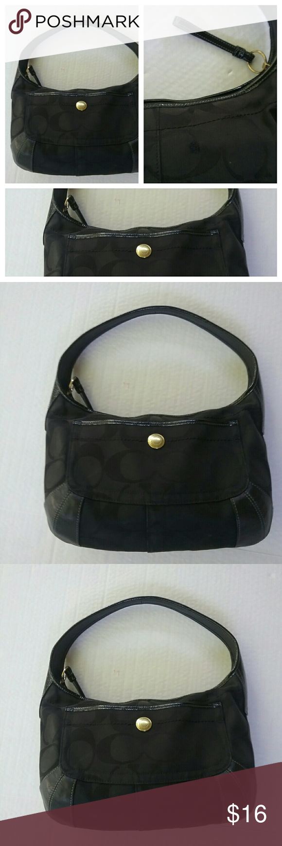 COACH BLACK LOGO HANDBAG PURSE This is a nice black coach logo handbag. The trim and leather is in good condition. The inside is clean. I am selling this bag with big as there is a tiny hole about a half of inch big on the back. I tried to capture it in a picture it is mostly a pray and not a true hole and is hardly noticeable but I am adjusting the price for that defect. There are three tiny white stains on the back. Coach Bags Shoulder Bags