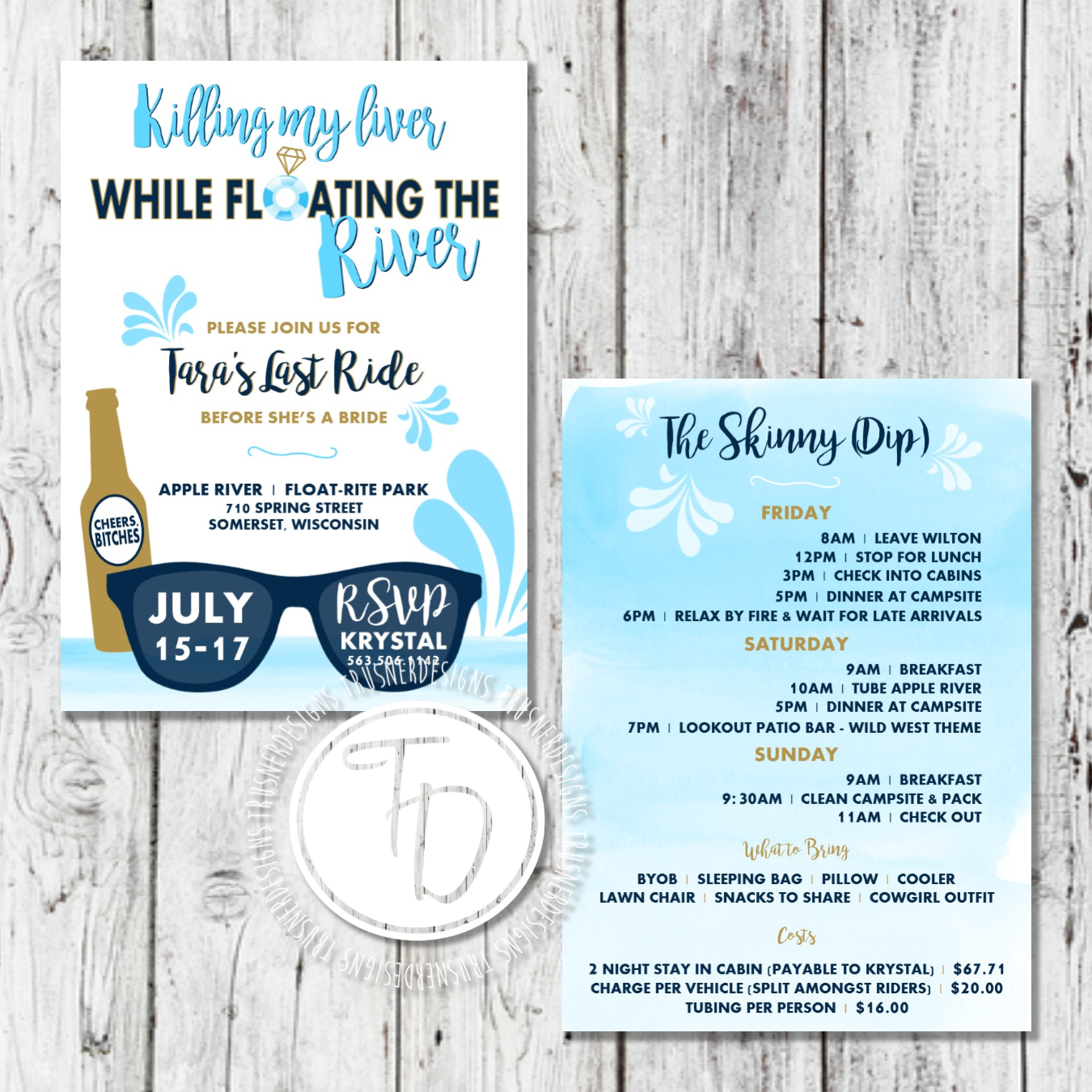 Float the river bachelorette invitation by Trusner Designs ...