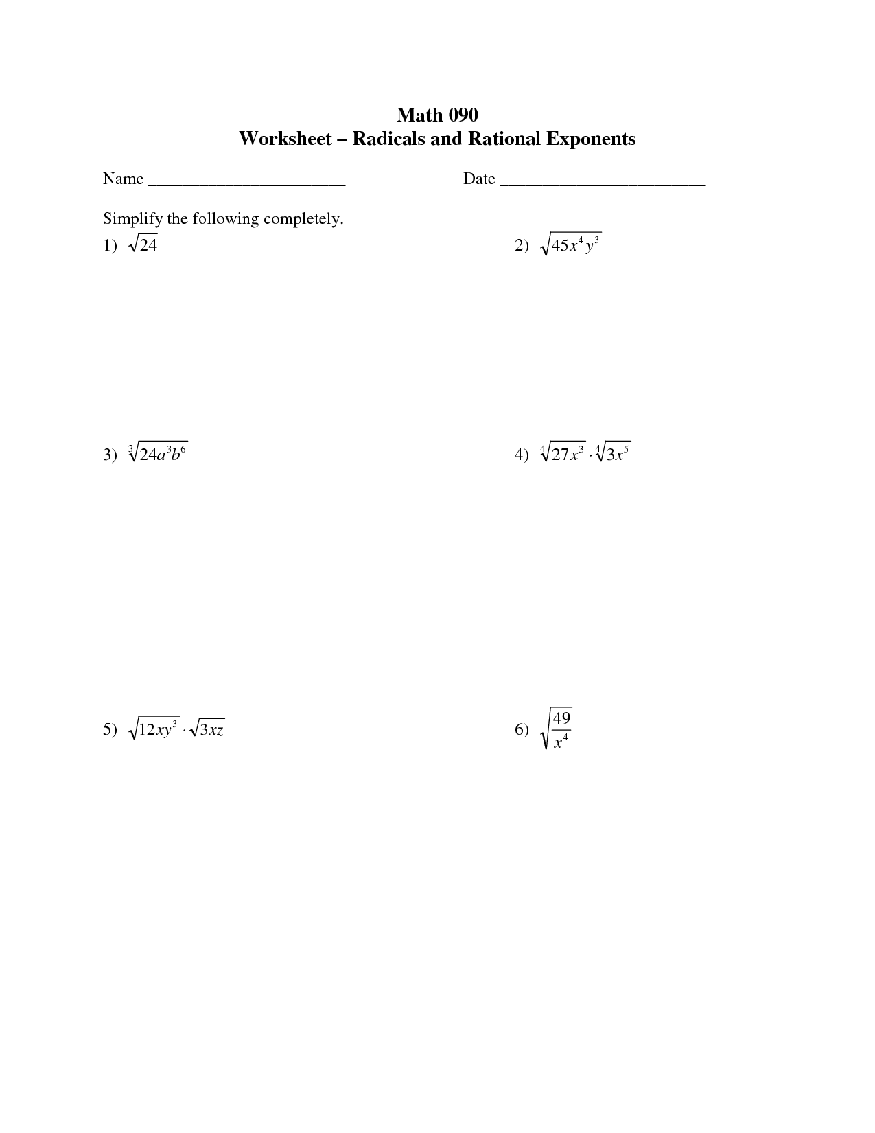 radicals with exponents | Math 090 Worksheet - Radicals and Rational ...