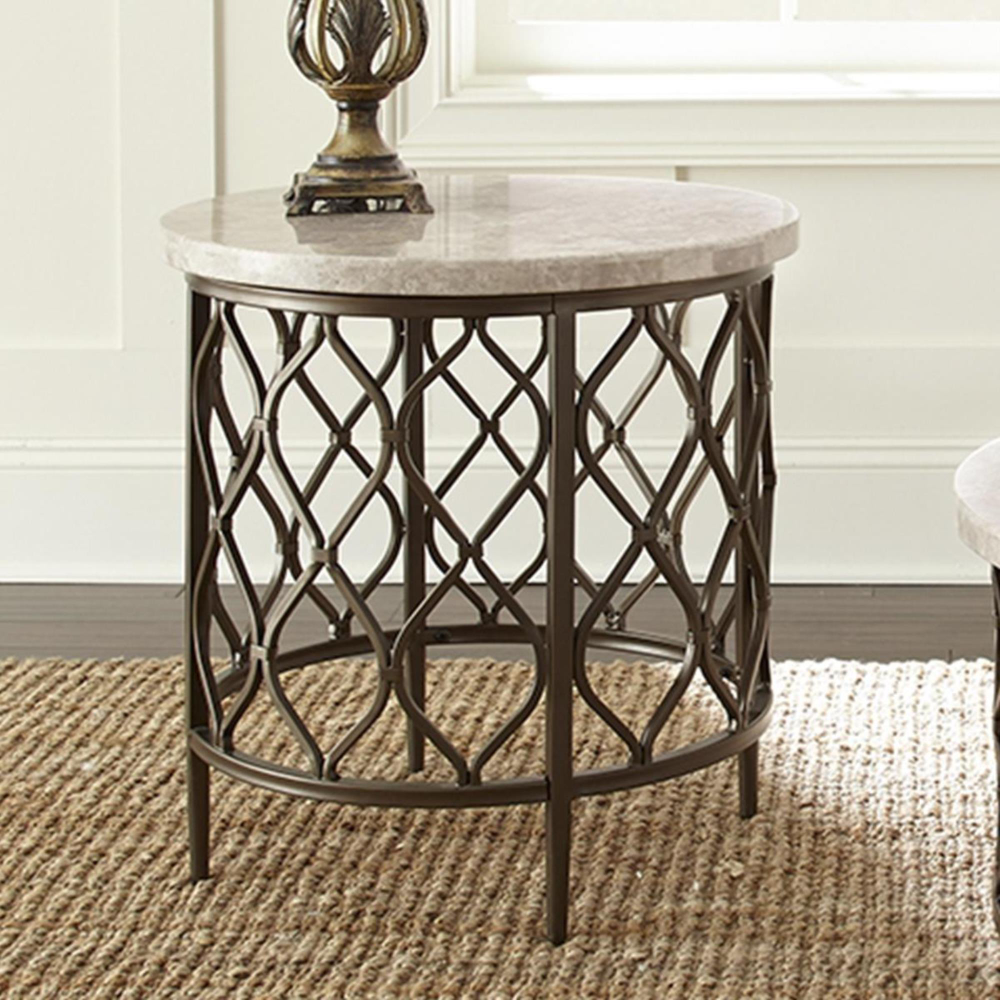 At Home Roland End Table In White Stone And Bronze Nfm End Tables Living Room Table Sofa End Tables [ 1000 x 1000 Pixel ]