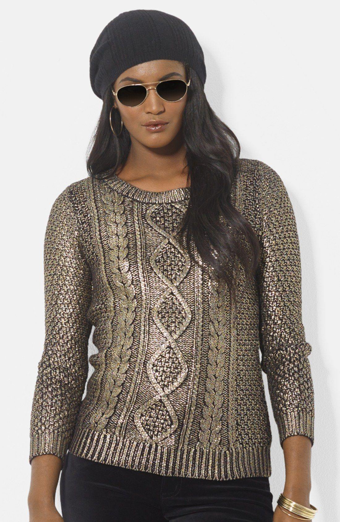 Lauren By Ralph Lauren Metallic Cable Knit Sweater in Gold ...