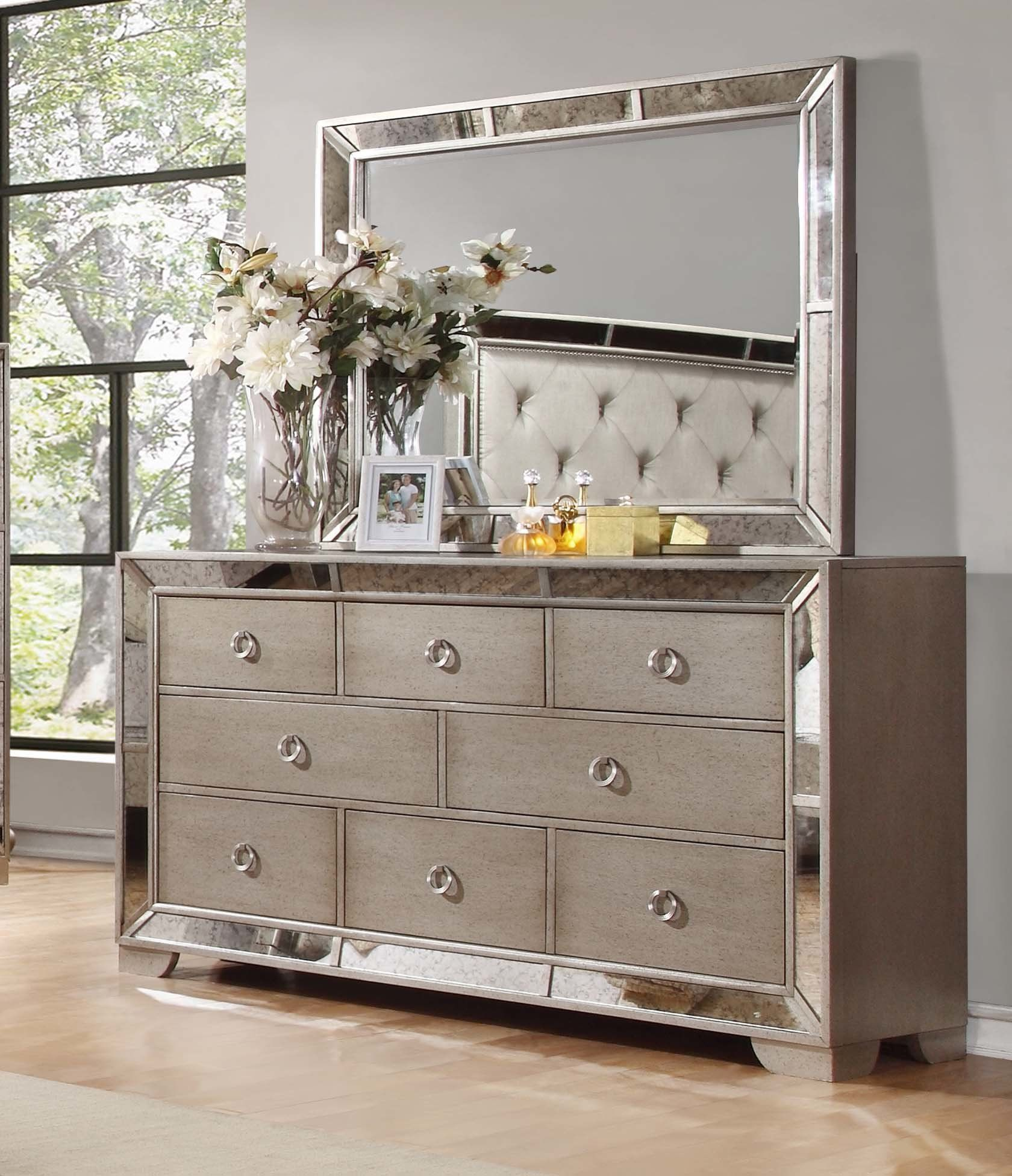 Modern Contemporary Accent Mirror Dresser With Mirror Shabby