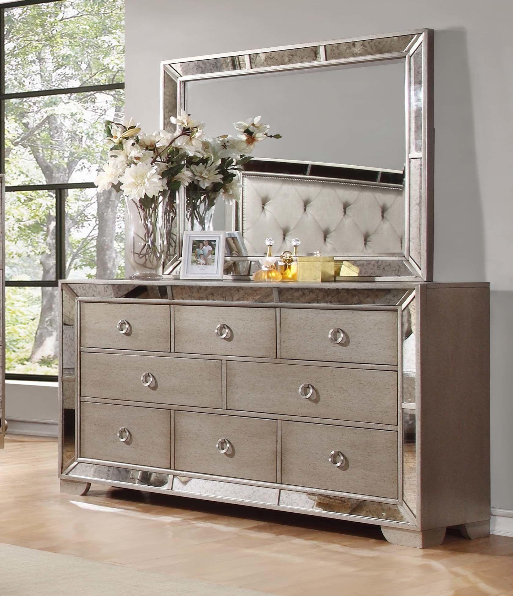 Modern Contemporary Accent Mirror Best Master Furniture Dresser With Mirror Mirrored Furniture